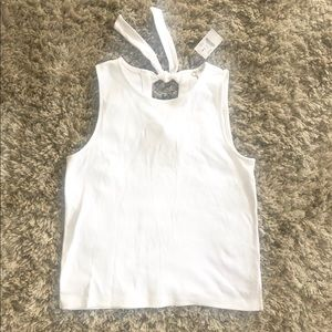 🌺JCrew White Tie-Back Tank Top Bow Back S Small